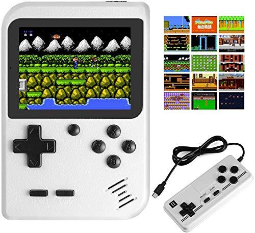 Console de videogame portátil, 400 jogos clássicos FC Tela de 2,8 polegadas Bateria recarregável 800mAh portátil Retro console de videogame Suporte para conectar TV e dois jogadores (branco)