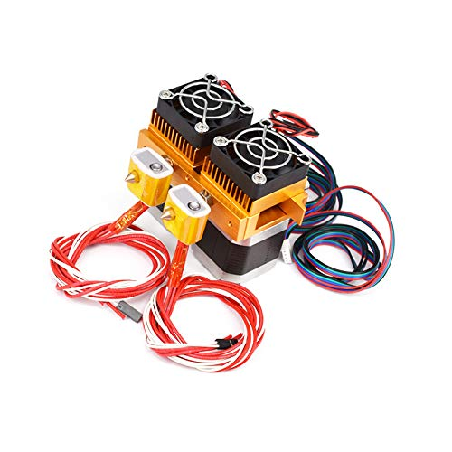 Jjsm MK8 Dual Extruder Double Print Head for 3D Printer Accessories 0.2MM DC 12V