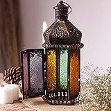farolillos para velas Lámpara de vela de hierro retro marroquí,candelabro portátil decorado con candelabro colgante de vidrio de colores,adecuado para la decoración del hogar al aire libre / interior