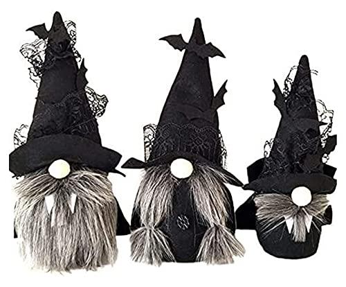 ASY 3 Stücke Halloween Gnomes Plüsch Dekor Schwarz Halloween Fachlose Puppe Mit Hexen Umhang Hut Handgemachte Halloween Zwerge Schwedisch GNOME Für Haus Halloween Tag Party Tischdekorationen