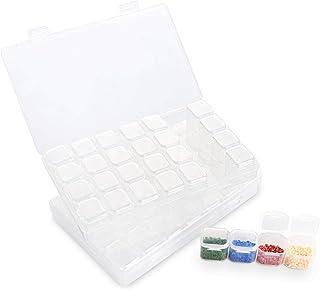 ilauke Lot de 2 Boîte à Broderie Diamant, Kit de Diamant Broderie Box avec 28 casiers,Amovibles Sac Pratique et autocollan...