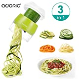 Handheld Spiralizer Vegetable Slicer, Adoric 3 in 1 Heavy Duty Veggie Spiral Cutter - Zoodle Pasta...
