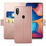 YATWIN Handyhülle für Samsung Galaxy A20E Hülle Premium Leder Flip Hülle Schutzhülle für Samsung Galaxy A20E Tasche, Rose Gold