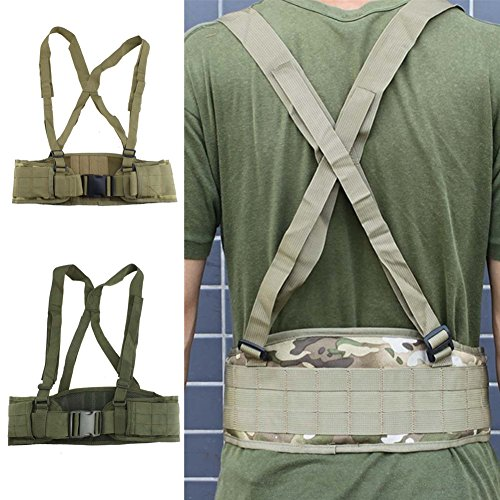 FAMI Tactical Battle Combat Airsoft Padded Equipment Molle Waist Belt with Adjustable Suspenders Free Straps for Patrol Army Training Outdoors Duty - Camouflage