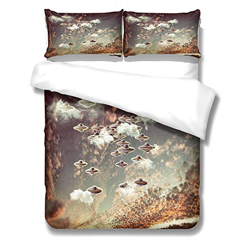 iCoCofly 3 Pieces Bedding Set with 1 Duvet Cover and 2 Pillowcase Set, Watercolor Motif, Trendy Quilt for Kids Teens and Adults Soft Microfiber Hypoallergenic Bedding Set - Starry sky flying saucer