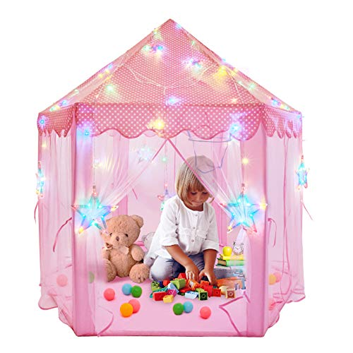 """55"""" x 53"""" Princess Castle Tent for Girls Princess Tents for Kids Hexagon Playhouse with Star Lights Toys for Children Indoor or Outdoor Games(Pink)"""