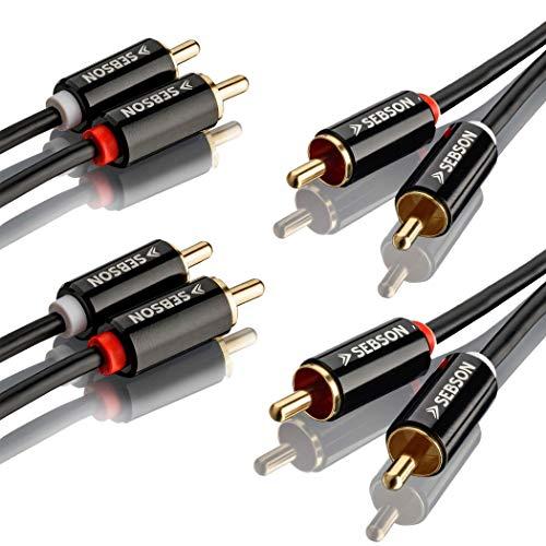 SEBSON 2X Cinch Audio Kabel 2m, 2 zu 2 Cinch Stecker RCA, AUX Audio Kabel für Stereoanlage, Verstärker, Heimkino und HiFi Anlagen