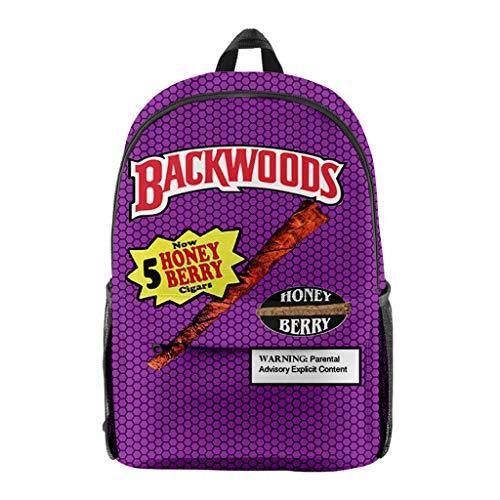 Backwoods Cigar Backpack Backwood Print Bag Laptop Shoulder School Bag Travel Bag for Boys Men (S,One_Size)