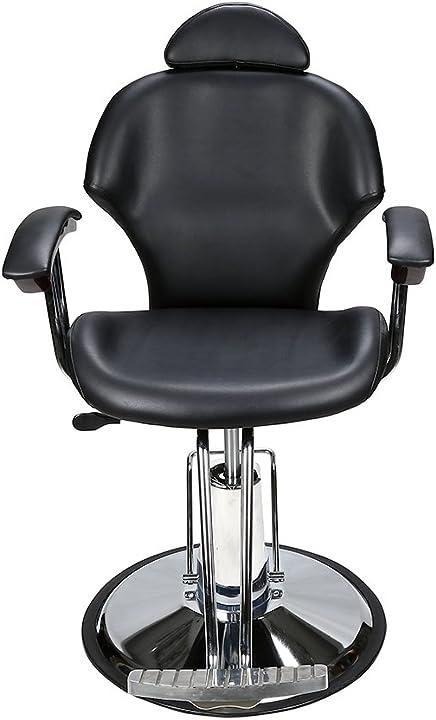 Poltrona barbiere reclinabile idraulica 360 gradi girevole regolabile per salone di bellezza barberpub 6154-8714BK