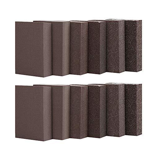Wet Dry Sanding Sponge, Coarse/Medium/Fine 6 Different Specifications Sanding Blocks Assortment,36/60/80/120/180/220,Washable and Reusable,12 Pack