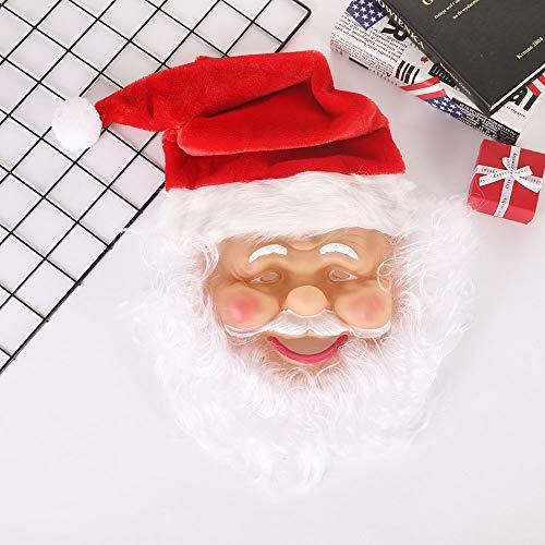 SSRSHDZW Kerstman Masker Realistische Kerstmis Volledig Gezicht Latex Masker met Witte Baard Rode Cap Fancy Kostuum Masquerade Kerstfeest
