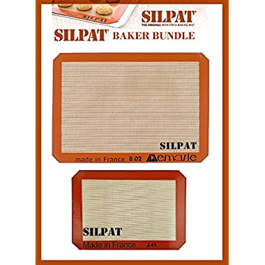 Silpat Bakers Bundle (US Half Size 11-5/8  x 16-1/2  Silicone Baking Mat & 8-1/4  x 11-3/4  Jelly Roll)