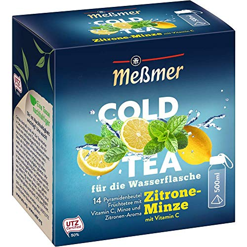 Meßmer Cold Tea Zitrone-Minze | Belebe dein Wasser mit dem spritzigen Geschmack | ohne Zucker | ohne Kalorien | Alternative zu zuckerhaltigen Getränken wie Limonade oder Saft | 14 Pyramidenbeutel