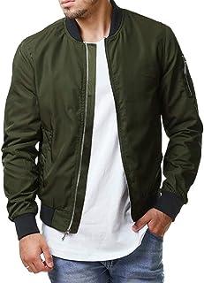 Runcati Mens Bomber Jacket Full Zip Fall Slim Fit Lightweight Pilot Sport Hip Hop Varsity Plain Flight Jackets Coats