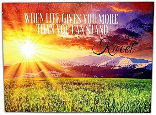 BANBERRY DESIGNS When Life Gets Too Hard to Stand Kneel LED Lighted Canvas Print with Sunset product image