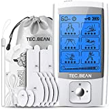 TENS Unit Muscle Stimulator with 8 Electrode Pads, TEC.BEAN 24 Modes Rechargeable Electric Pulse Massager Pain Relief Tens Machine for Back, Neck, Arm, Leg & Knee - Home Office Sport