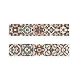 UPKOCH Wall Stickers Self-Adhesive Red and Green Baroque Style PVC Tile Stickers Wall Decor Wallpaper for Kitchen Bathroom