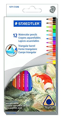 Staedtler Presharpened Watercolor Pencils, Ergonomic Art Set, Box of 12 Triangular Colored Pencils