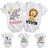 Personalized Baby Onesie Gift for Girl/Boy w/Name - Customized Funny Babies Bodysuit/Clothes - Custom Infant/Bebe White Romper - Newborn 6 12 18 24 Months - Announcement Baby Shower Christmas Gifts C1