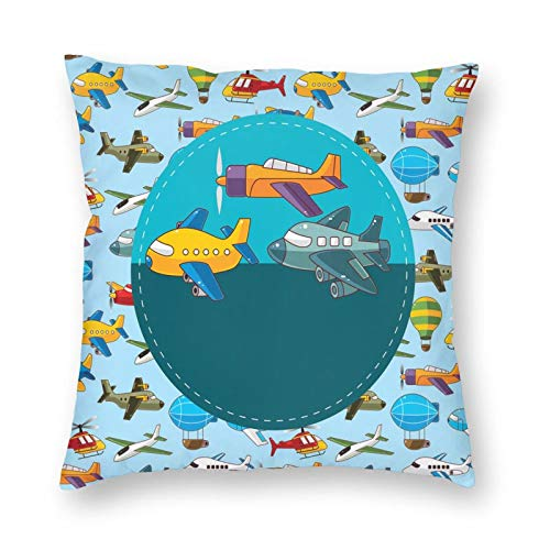 FULIYA Modern Throw Pillow Covers 20 x 20 inch,Colorful Retro Style Various Cartoon Airplanes Air Balloons Zeppelins Boys Kids,Throw Pillow Covers for Sofa & Home Decor