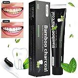 Dentifrice au charbon de bambou Menthe haleine fraiche, Blanchiment des dents sans fluor professionnel, Anti tartre (120g),Dentifrice Naturel Pur Bio