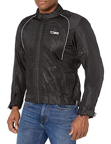 "JET Motorcycle Motorbike Jacket Men Summer Mesh Armored Lightweight RONIN (S (36"" - 38""), Black)"