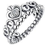 Presentski Simple Fashion 925 Sterling Silver Crown Princess Diamond Ring for Girlfriend
