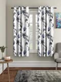 Home Sizzler Polyester Floral Window Curtain, Window - 5 Feet, Grey, Pack of