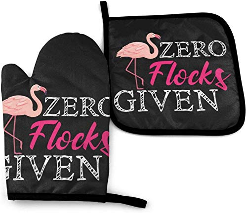 Juego de manoplas para horno y soportes para ollas, divertido Flamingo Flamingo Zero Flocks dado Guantes de horno resistentes al calor Mitones de cocina antideslizantes para cocinar y hornear 🔥