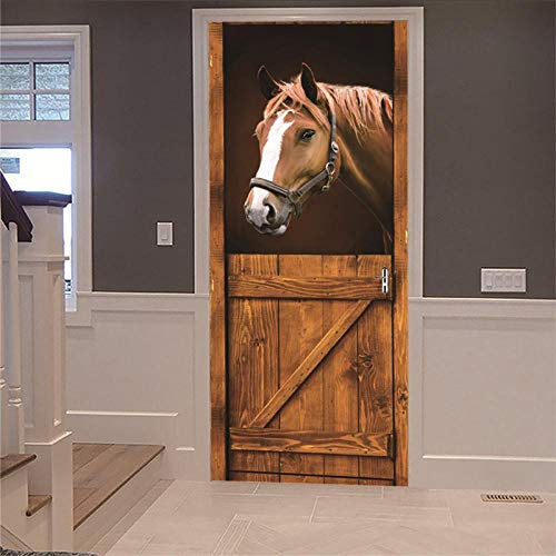 3D Porta Murale Cavallo marrone, casetta per cavalli Poster Adesivi per porte 3D in PVC Adesivo per Porta, Home Decorazione Pellicola Decorativa Carta Autoadesiva Cameretta,77x200cm.