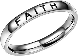 4mm Stainless Steel Love Faith Hope Mantra Inspirational Wedding Band Ring