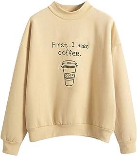 Women O-Neck Long Sleeve Sweatshirt ❀ Ladies Solid Coffee Cup Printed Plus Fashion Sport Coat Casual T-shirt Blouse Outwear