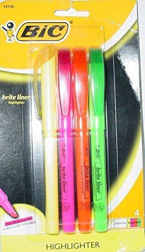 BIC Brite Liner Highlighter, Medium Tip, 4ct - Multicolor Ink