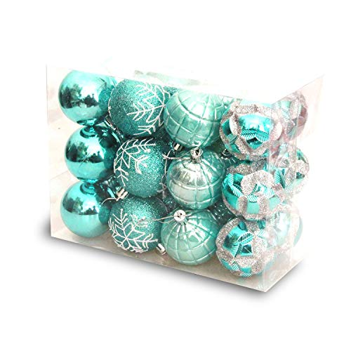 BHAHFL 24Pcs Christmas Balls Ornaments for Xmas Christmas Tree - Shatterproof Christmas Tree Decorations Large Hanging Ball for Holiday Wedding Party Decoration 6CM,Blue