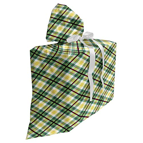 ABAKUHAUS Schotse ruit Cadeautas voor Baby Shower Feestje, Classic Squares and Stripes, Herbruikbare Stoffen Tas met 3 Linten, 70 cm x 80 cm, Green Dark Maroon