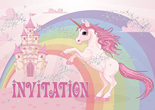 Edition Colibri 10 Licorne Invitations Anniversaire Fille: Lot de 10 Cartes d'invitation tendres et illustrées avec Licorne, Un château et Un Arc en Ciel pour Un Anniversaire de Fille (10952 FR)