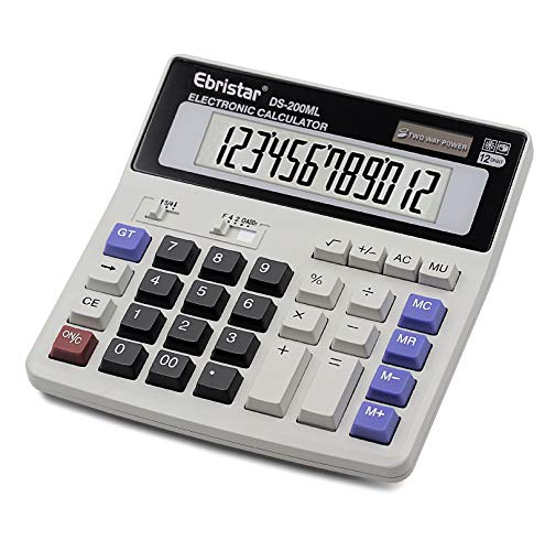 Calculator, Basic Desktop Calculator, Solar Battery Dual Power with 12-Digit Large LCD Display and Large Computer Keys Office Calculator by Ebristar (Battery Included)