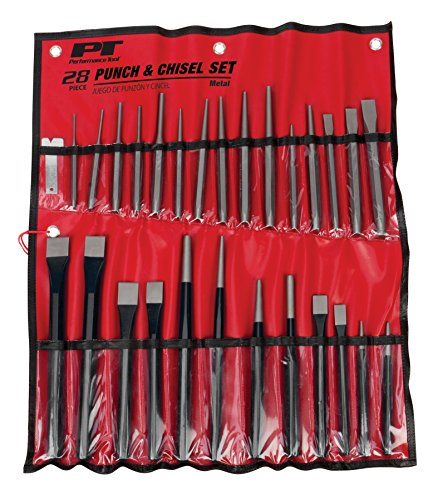 Performance Tool W754 Punch and Chisel Set with Roll-Up Vinyl Storage Pouch, 28 Piece
