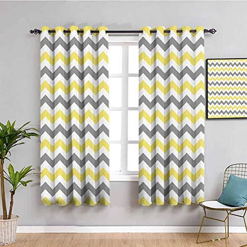 Cortinas opacas de alta calidad con patrón de Chevron horizontal, sin fin, sencillez, a la moda, diseño artístico, impermeable, tela amarilla, gris y blanco de 63 x 45 pulgadas