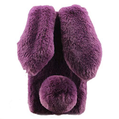 Awenroy Hase Pelz Handyhülle für Wiko View 2 Go [ 3D Flauschiges Kaninchen ] Weicher & bequemer Plüschbezug Spaß Luxus & schön Stoßfeste Hülle für Wiko View 2 Go - Dunkelviolett