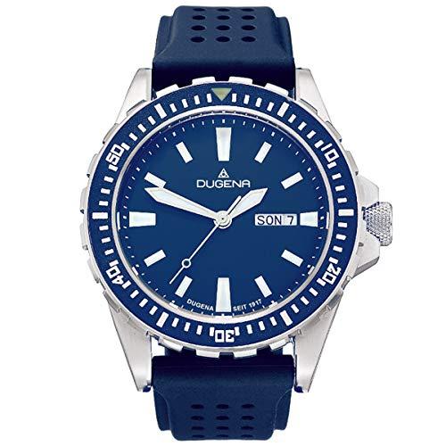 Dugena Herrenuhr mit blauem Silikonband Edelstahl 20 Bar Wochentag Datum 4460980