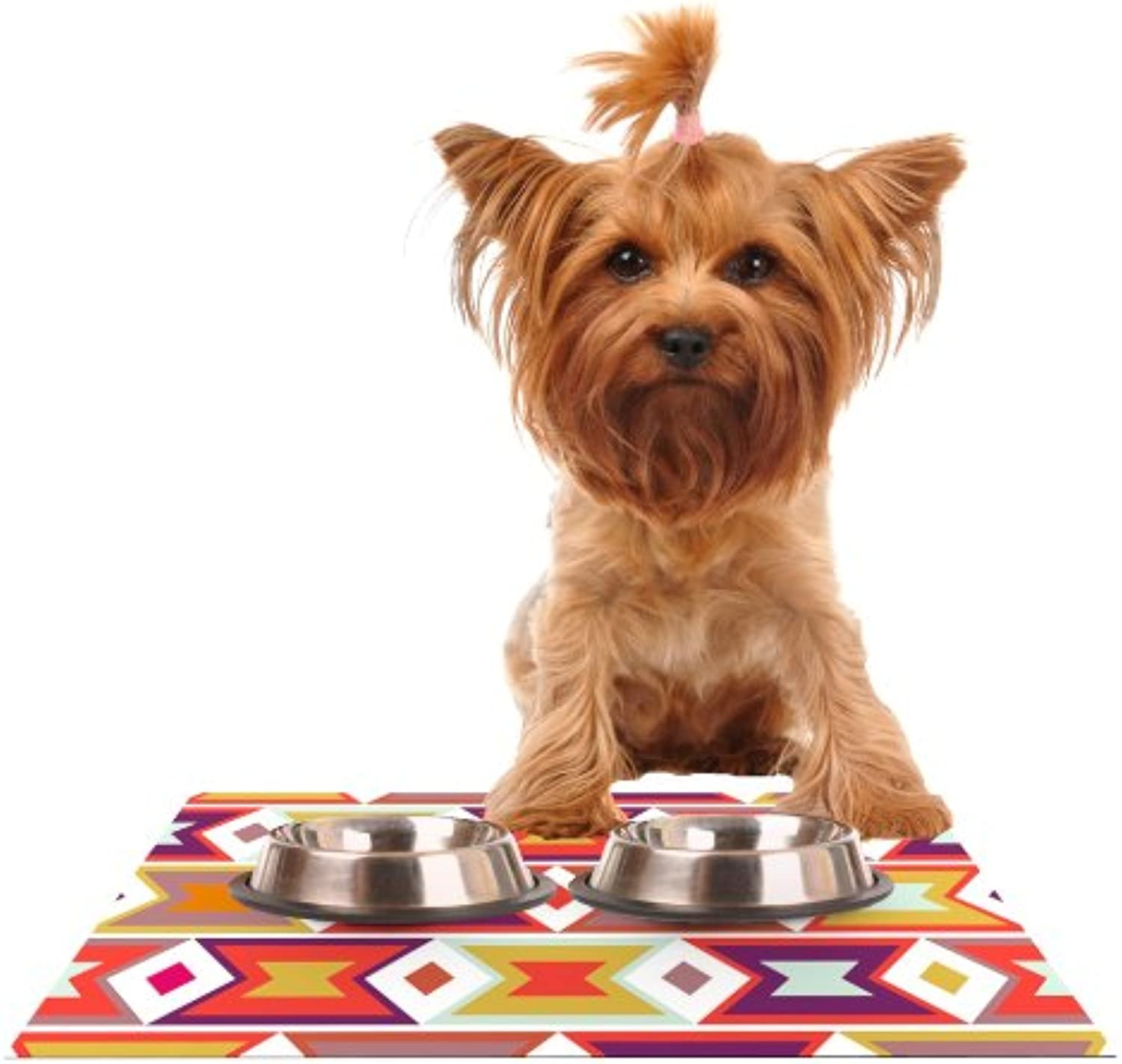Kess InHouse Pellerina Design Aztec Weave  orange Purple Feeding Mat for Pet Bowl, 24 by 15