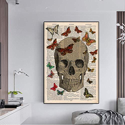wangjingxi Arte Abstracto Moderno Lienzo Pintura Vintage Diccionario Libro con Calavera Y Mariposa Cuadros De Pared para Sala Decoración Cuadros 45X60 Cm