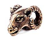 Windalf Pagan Haar & Bartperle Merlin 13 mm Asatru Widderkopf Bohemia Haarschmuck Vintage Bartschmuck Bronze