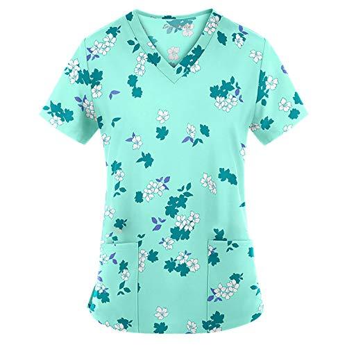 Damen V-Ausschnitt Krankenhauskleidung Oberteil Scrub Tops Oberteil Schlupfhemd Kasack Valentinstag Schmetterling Blume Druck Arbeitskleidung Kurzarm (F-Minzgrün, XL)