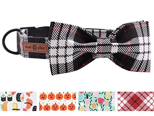 lionet paws Weich Baumwolle Fliege Hundehalsband mit Metall Verschluss Einstellbare Halsbänder für Kleine Hunde, Hals 25-40cm