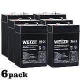 Weize 6V 4.5AH Sealed Lead Acid Rechargeable Battery Replace 6 Volt 4AH 5AH Exit Sign Emergency Light Lantern Kids Ride On Car Deer Feeder, 6 Pack