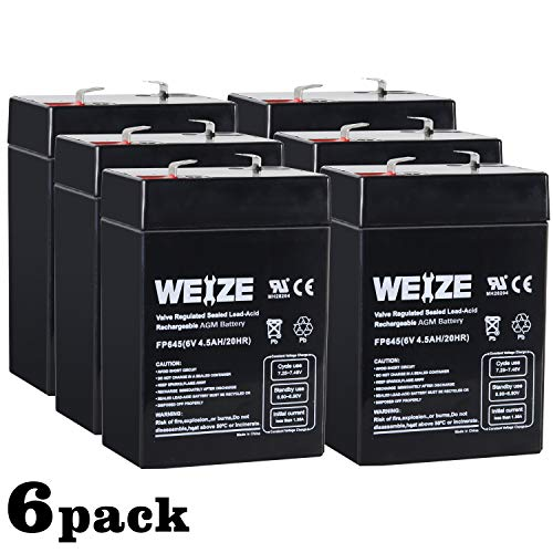 Weize 6V 4.5AH Sealed Lead Acid Rechargeable Battery Replace 6 Volt 4AH 5AH Exit Sign Emergency Light Lantern Kids Ride On Car Deer Feeder, 6 Pack