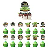 Baby Yoda Happy Birthday Cake Topper Star Wars The Mandalorian Theme Birthday Party Cupake Decorations For Kids(25PCS)