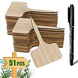 ARPDJK 50Pcs Bambou Étiquettes de Plantes et Un Stylo Marqueur, Tags de Jardin en Bois de T-Type avec Boîte d'emballage, Étiquette de Plante pour Graines D'herbes en Pot Fleurs Légumes (6 x 10 cm)
